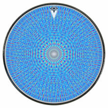 Rainbow Blossom graphic drum skin installed on bass drum head by Visionary Drum; blue drum art
