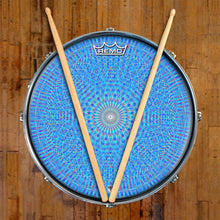 Blue Rainbow Blossom Design Remo-Made Graphic Drum Head on Snare Drum; rainbow drum art