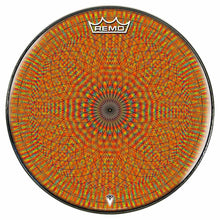 Red Rainbow Blossom Design Remo-Made Graphic Drum Head by Visionary Drum; geometric drum art