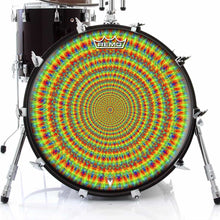 Rainbow Cave Design Remo-Made Graphic Drum Head on Bass Drum; psychedelic drum art