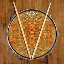 Rust Mandala Design Remo-Made Graphic Drum Head on Snare Drum; abstract drum art