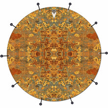 Rust Mandala bass face drum banner by Visionary Drum; kaleidoscope drum art