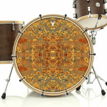 Rust Mandala bass face drum banner installed on bass drum; orange drum art