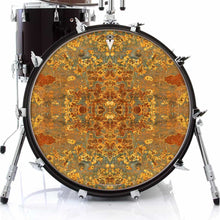 Rust Mandala graphic drum skin on bass drum by Visionary Drum; meditation drum art