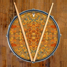 Rust Mandala graphic drum skin on snare drum by Visionary Drum; spiritual drum art