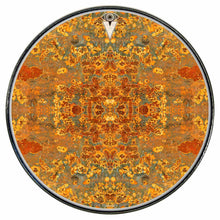 Rust Mandala graphic drum skin installed on bass drum head by Visionary Drum; abstract pattern drum art