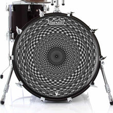 Seed Maker Design Remo-Made Graphic Drum Head on Bass Drum; geometric drum art