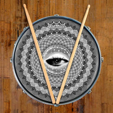 Seer Design Remo-Made Graphic Drum Head on Snare Drum; eye drum art