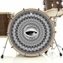 Seer bass face drum banner installed on bass drum by Visionary Drum; spiritual drum art