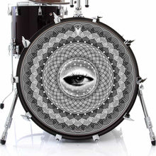 Seer graphic drum skin on bass drum head by Visionary Drum; third eye drum art