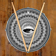Seer graphic drum skin on snare drum head; visionary drum art