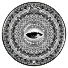 Seer Design Remo-Made Graphic Drum Head by Visionary Drum; black and white drum art