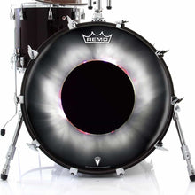 Solar Eclipse Design Remo-Made Graphic Drum Head on Bass Drum; black and white drum art