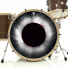 Solar Eclipse bass face drum banner installed on drum kit; visionary drum art