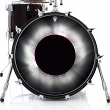 Solar Eclipse graphic drum skin on bass drum head by Visionary Drum; black sun drum art