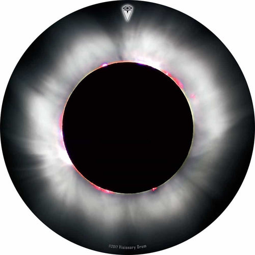 Solar Eclipse design graphic drum skin by Visionary Drum; black and white drum art
