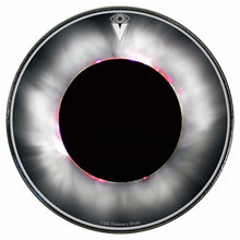 Solar Eclipse graphic drum skin installed on bass drum head by Visionary Drum; white drum art