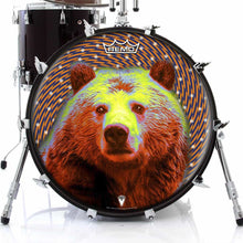 Space Bear Design Remo-Made Graphic Drum Head on Bass Drum; animal drum art