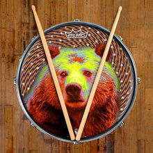 Space Bear Design Remo-Made Graphic Drum Head on Snare Drum; abstract drum art