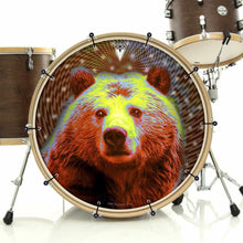 Space Bear bass face drum banner installed on bass drum; visionary drum art