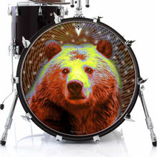 Space Bear graphic drum skin on bass drum head by Visionary Drum; abstract drum art