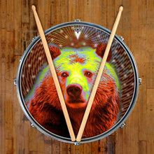 Space Bear graphic drum skin on snare drum head by Visionary Drum; animal drum art