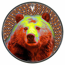 Space Bear graphic drum skin installed on bass drum head by Visionary Drum; animal drum art