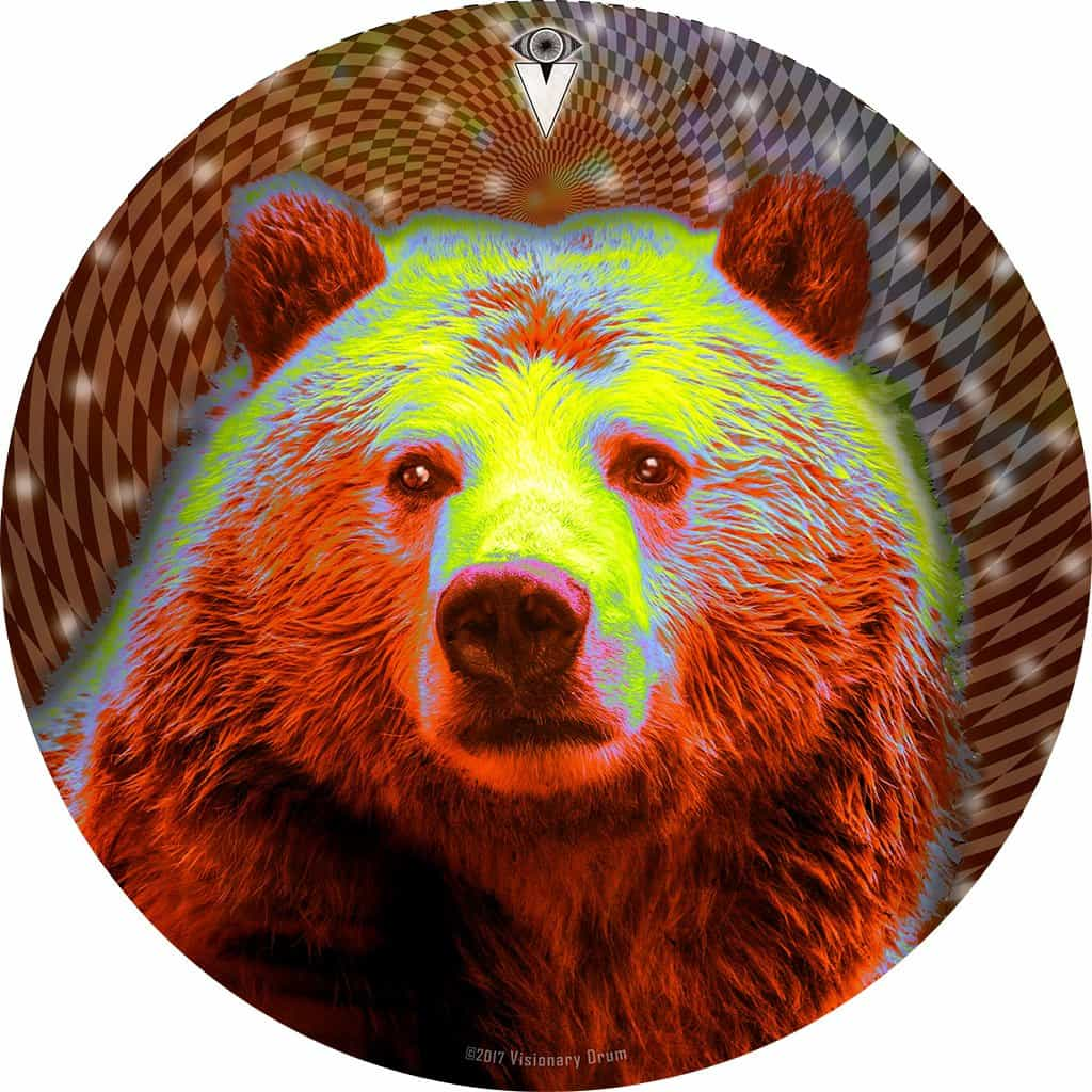Space Bear design graphic drum skin by Visionary Drum; psychedelic drum art