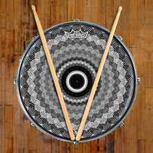Space Monocle Design Remo-Made Graphic Drum Head on Snare Drum; circle pattern drum art
