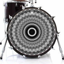 Space Monocle graphic drum skin on bass drum head by Visionary Drum; black and white drum art