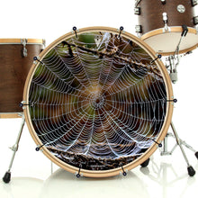 spider web bass face banner style drum head art on bass drum