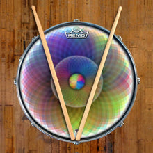 Spin and Project Design Remo-Made Graphic Drum Head on Snare Drum; circle pattern drum art