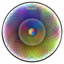 Spin and Project Design Remo-Made Graphic Drum Head by Visionary Drum; rainbow drum art