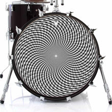 Spin Vision graphic drum skin on bass drum head by Visionary Drum; geometric drum art