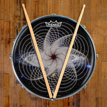 Spirographic Design Remo-Made Graphic Drum Head on Snare Drum; circle pattern drum art