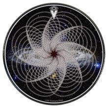 Spirographic graphic drum skin installed on bass drum head by Visionary Drum; meditation drum art