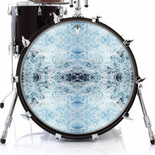 Splash graphic drum skin on bass drum head by Visionary Drum; nature drum art