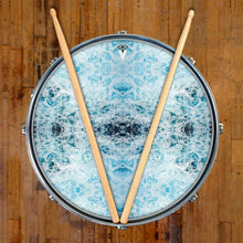 Splash graphic drum skin on snare drum head by Visionary Drum; abstract pattern drum art
