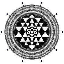 Sri Yantra bass face drum banner by Visionary Drum; black geometric drum art