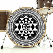 Sri Yantra bass face drum banner installed on bass drum by Visionary Drum; meditation drum art