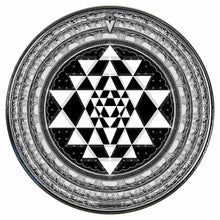 Sri Yantra graphic drum skin installed on bass drum head by Visionary Drum; black and white drum art