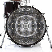 Stargate Portal Design Remo-Made Graphic Drum Head on Bass Drum; star mandala drum art