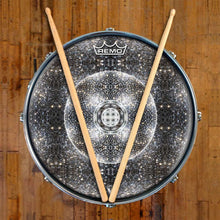 Stargate Portal Design Remo-Made Graphic Drum Head on Snare Drum; black and white drum art