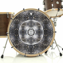 Stargate Portal bass face drum banner installed on bass drum; visionary drum art