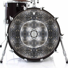 Stargate Portal graphic drum skin on bass drum heads by Visionary Drum; mandala drum art