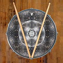 Stargate Portal graphic drum skin on snare drum heads by Visionary Drum; abstract pattern drum art