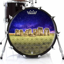 Stonehenge Design Remo-Made Graphic Drum Head on Bass Drum; geometric pattern drum art