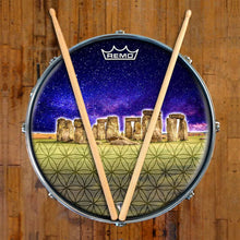Stonehenge Design Remo-Made Graphic Drum Head on Snare Drum; gold drum art