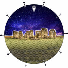 Stonehenge bass face drum banner by Visionary Drum; blue geometric drum art