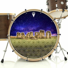 Stonehenge bass face drum banner installed on bass drum; visionary drum art